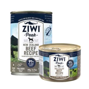 Two tins of Ziwi Peak Premium Canned Beef recipe for dogs