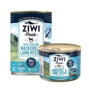 Rwo cans of Ziwi Peak Premium Canned mackerel and lamb Dog Food
