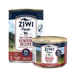 two cans of Ziwi Peak Premium Canned Venison Dog Food